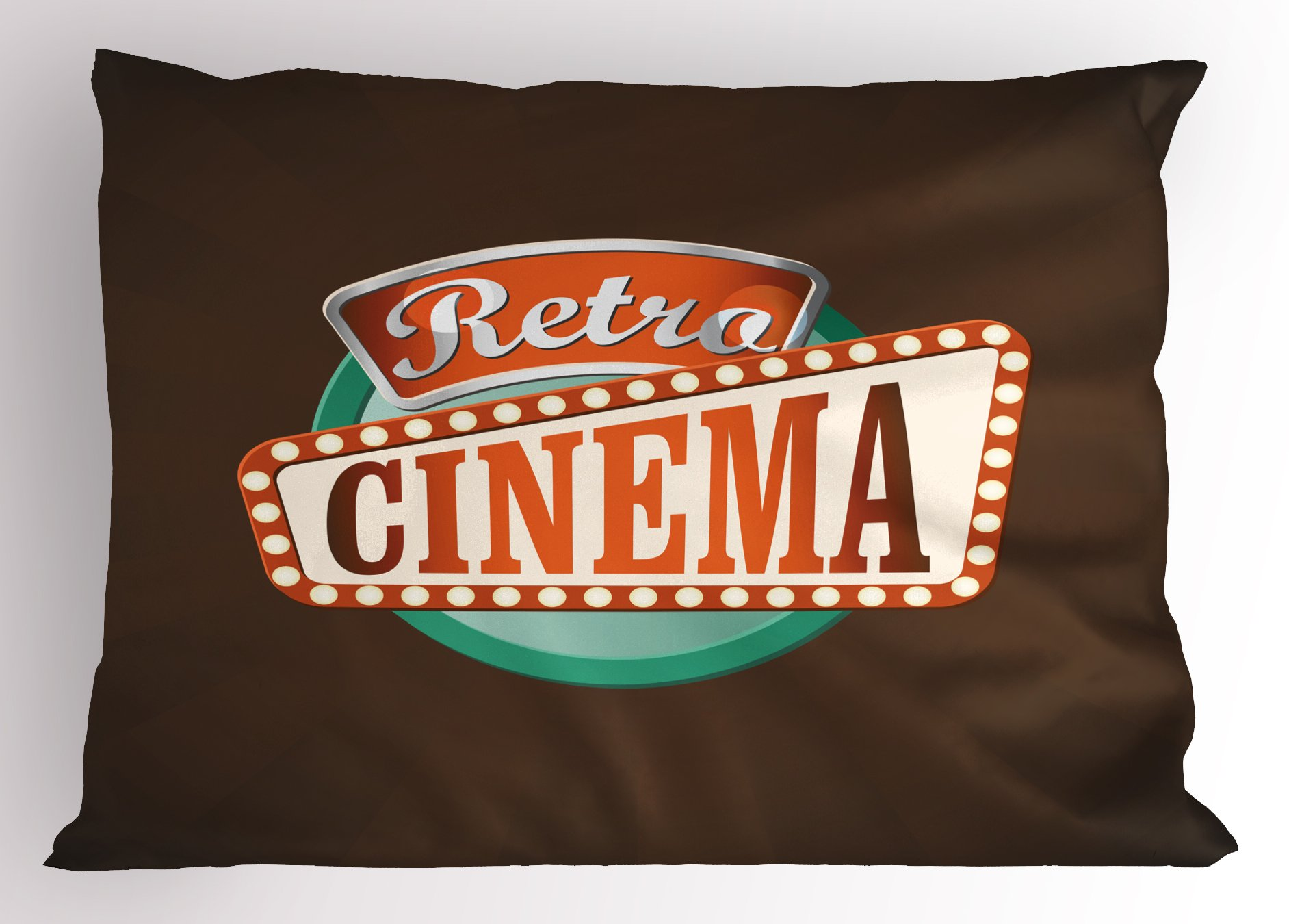 Ambesonne Movie Theater Pillow Sham, Retro Style Cinema Sign Design Film Festival Hollywood Theme, Decorative Standard King Size Printed Pillowcase, 36 X 20 inches, Brown Turquoise Vermilion