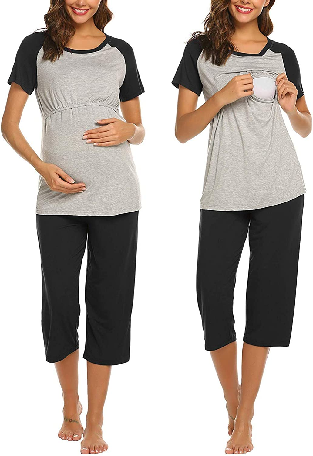 Ekouaer Double Layers Labor/Delivery/Nursing Maternity Pajamas Capri Set for Hospital Home, Baseball Shirt,Adjustable Size