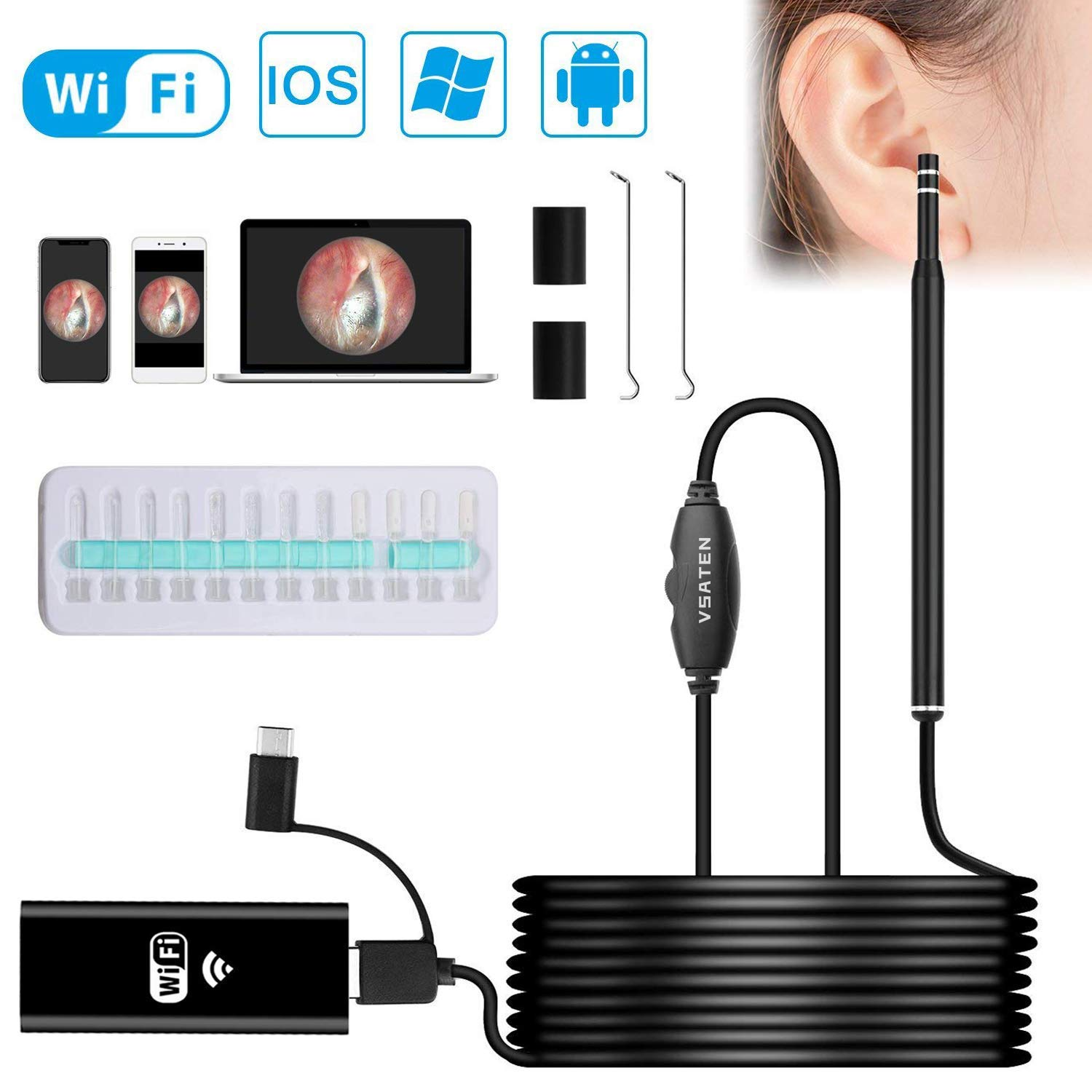 Ear Otoscope, VSATEN Wireless WiFi Otoscope 3 in 1 1.3 MP Digital Ear Inspection Camera Earwax Cleaning Tool with 6 Adjustable LEDs for iPhone & iPad, Android Devices, Windows & MAC PC Computer by VSATEN