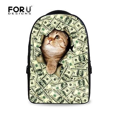 FOR U DESIGNS Cute Cat Dog Printed Durable Shoulder Backpack Book Bag Back to School