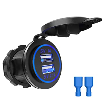 3.1 A Dual 2USB Charger Socket Adapter Power Outlet for 12V~24V Motorcycle