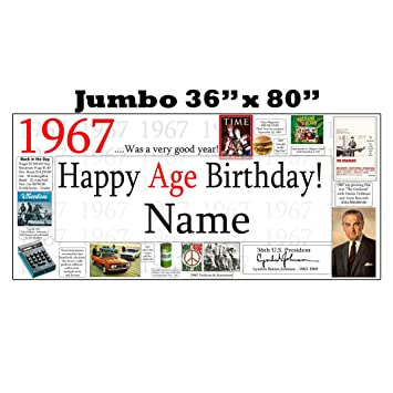 Amazon.com: 1967 52nd Birthday Jumbo Party Banner (Each) by ...