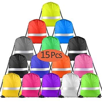 FEPITO 15 Pack Mochila con cordón Ajustable Multicolor con Tira ...