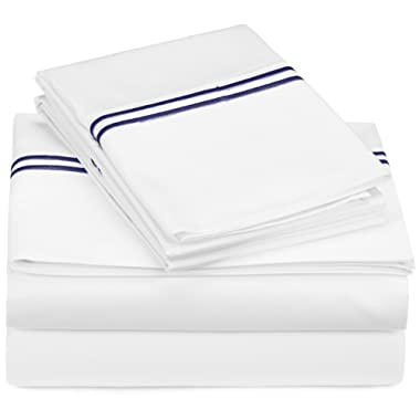 Pinzon 400-Thread-Count Egyptian Cotton Sateen Hotel Stitch Sheet Set - Queen, Navy Blue