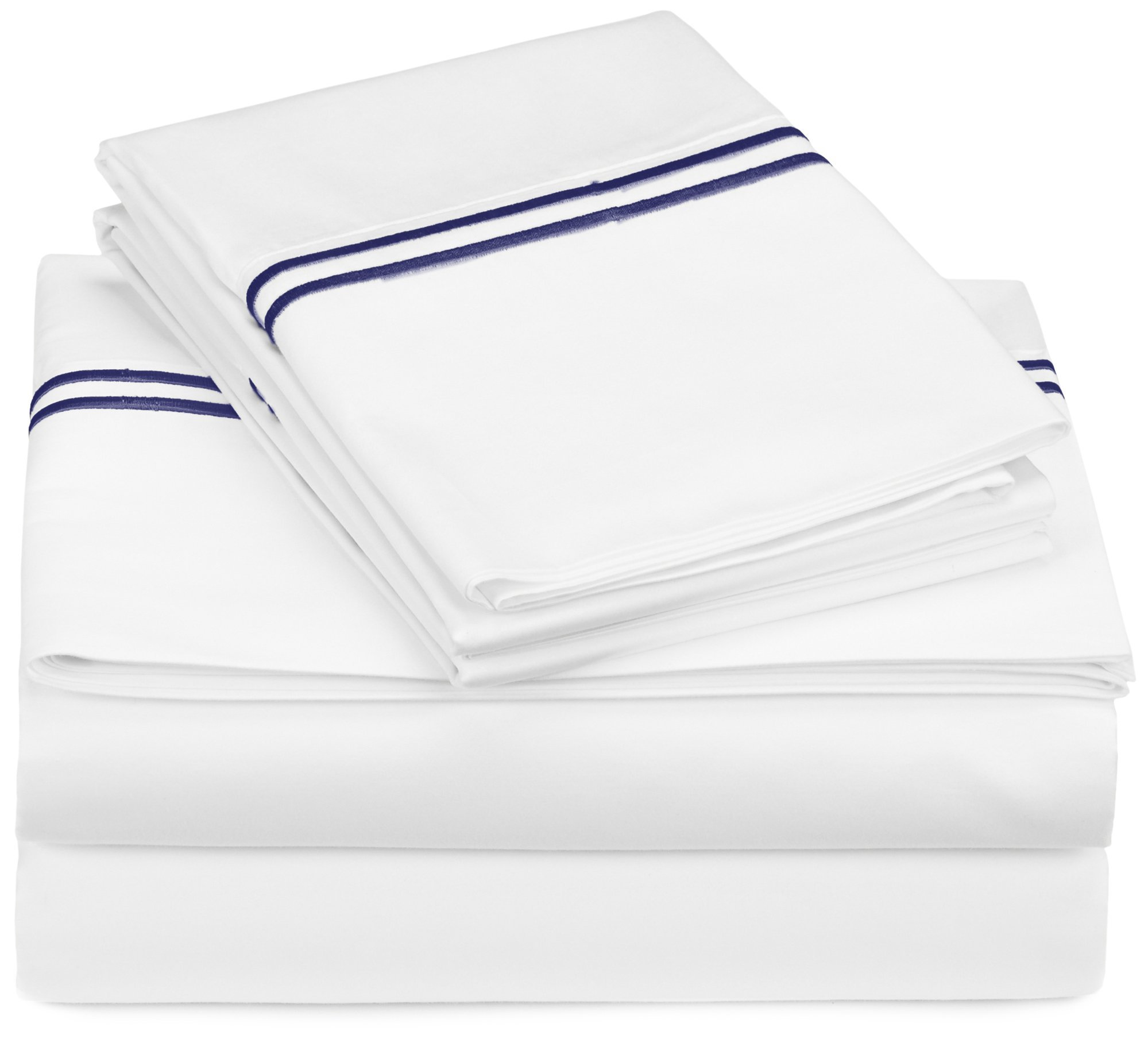Pinzon 400-Thread-Count Egyptian Cotton Sateen Hotel Stitch Sheet Set - Queen, Navy by Pinzon by Amazon (Image #1)