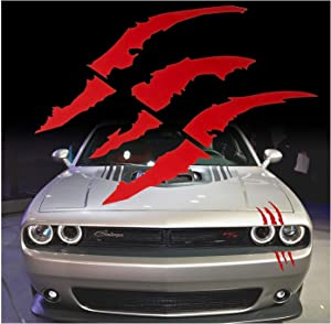Red Monster Claws Scratch Headlight Decal Die-Cut Vinyl Sticker for Halloween[Blood Red]