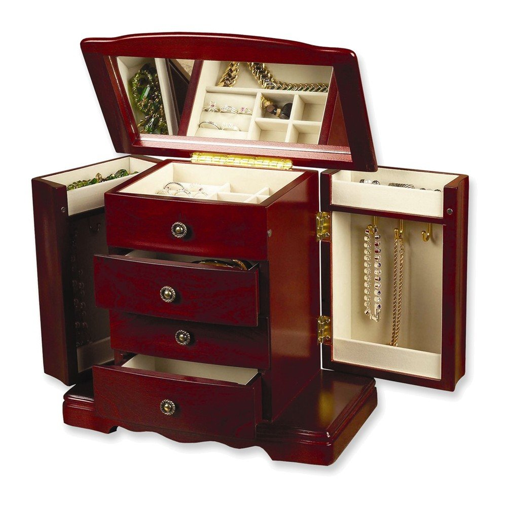 Cherry Three Drawer Musical Jewelry Box