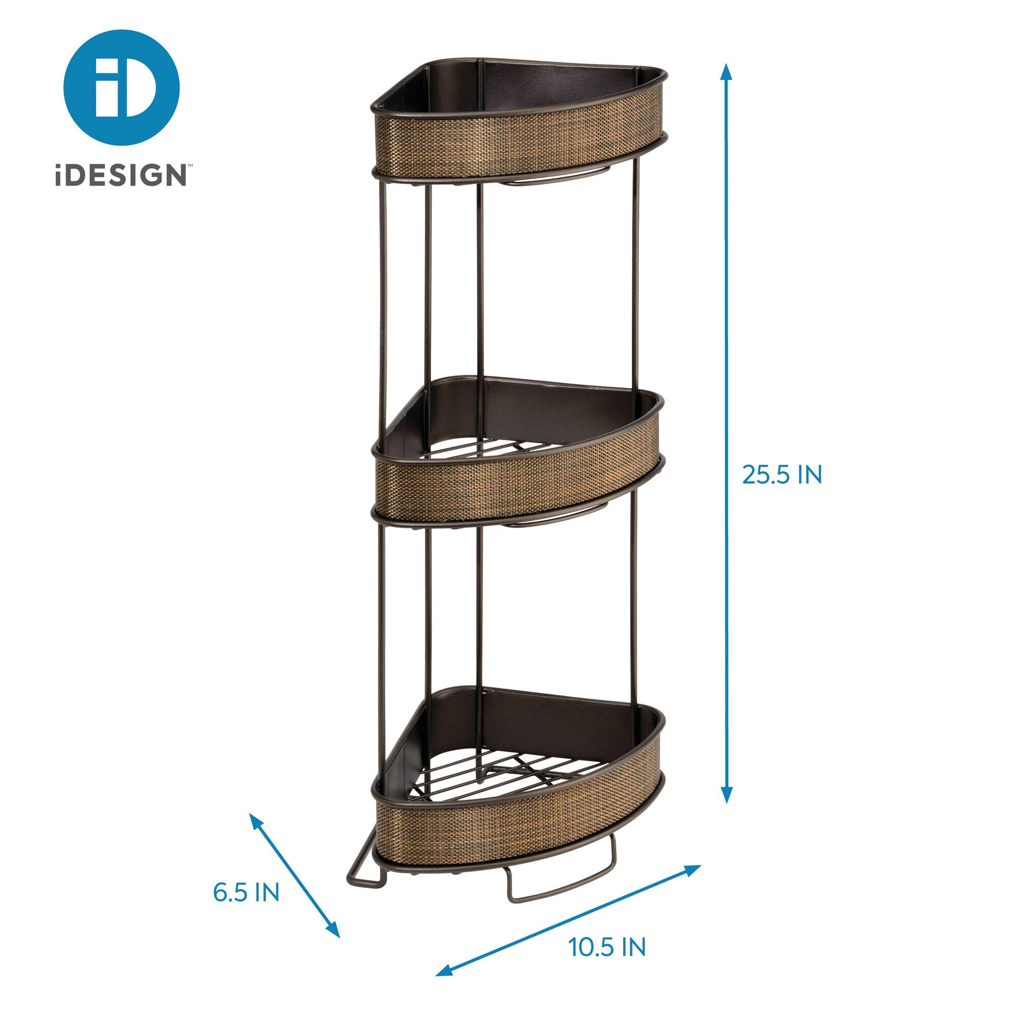 iDesign Twillo Metal Wire Corner Standing Shower Caddy 3-Tier Bath Shelf Baskets for Towels, Soap, Shampoo, Lotion, Accessories, by iDesign (Image #4)
