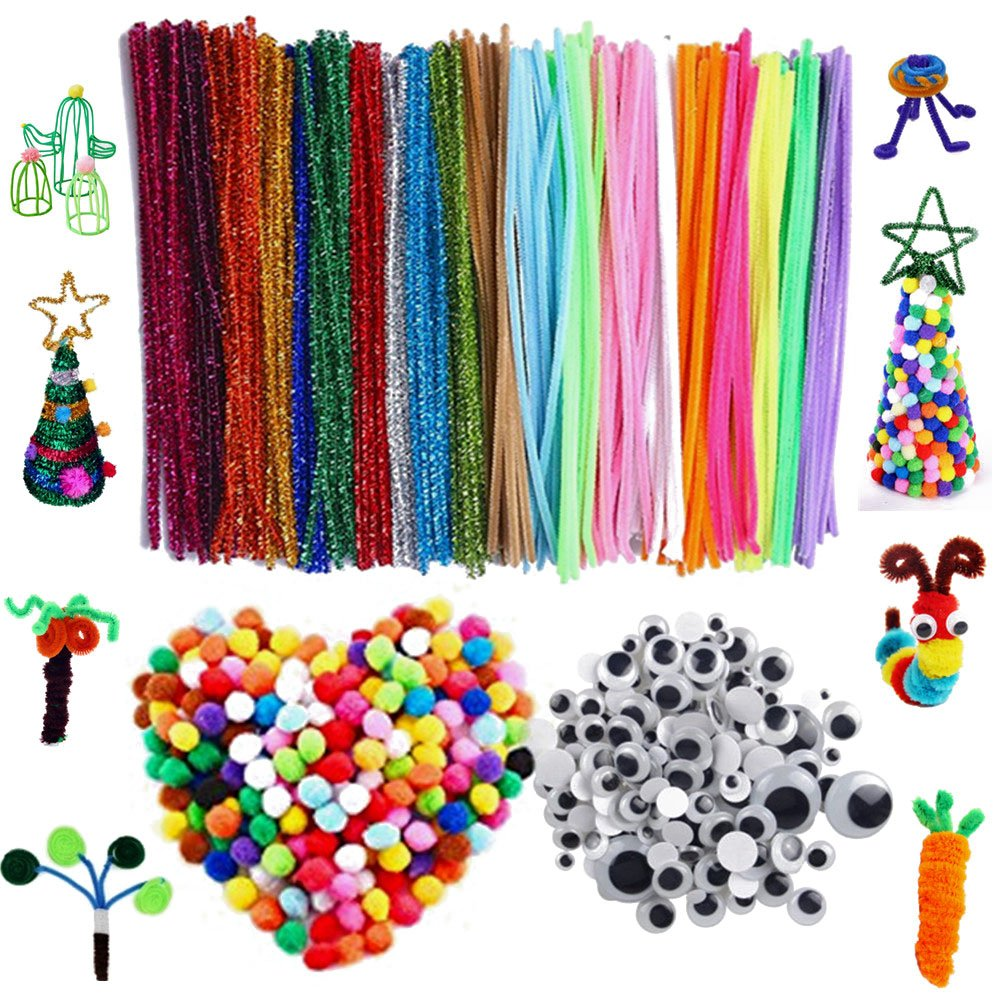 650 Pieces Pipe Cleaners Craft Supplies Set Includes 200Pcs 20 Colors Chenille Stems 200Pcs 3 Size Self-Sticking Wiggle Googly Eyes 250 Pcs 6 Size Pom Poms for DIY School Art Projects by LUISRA
