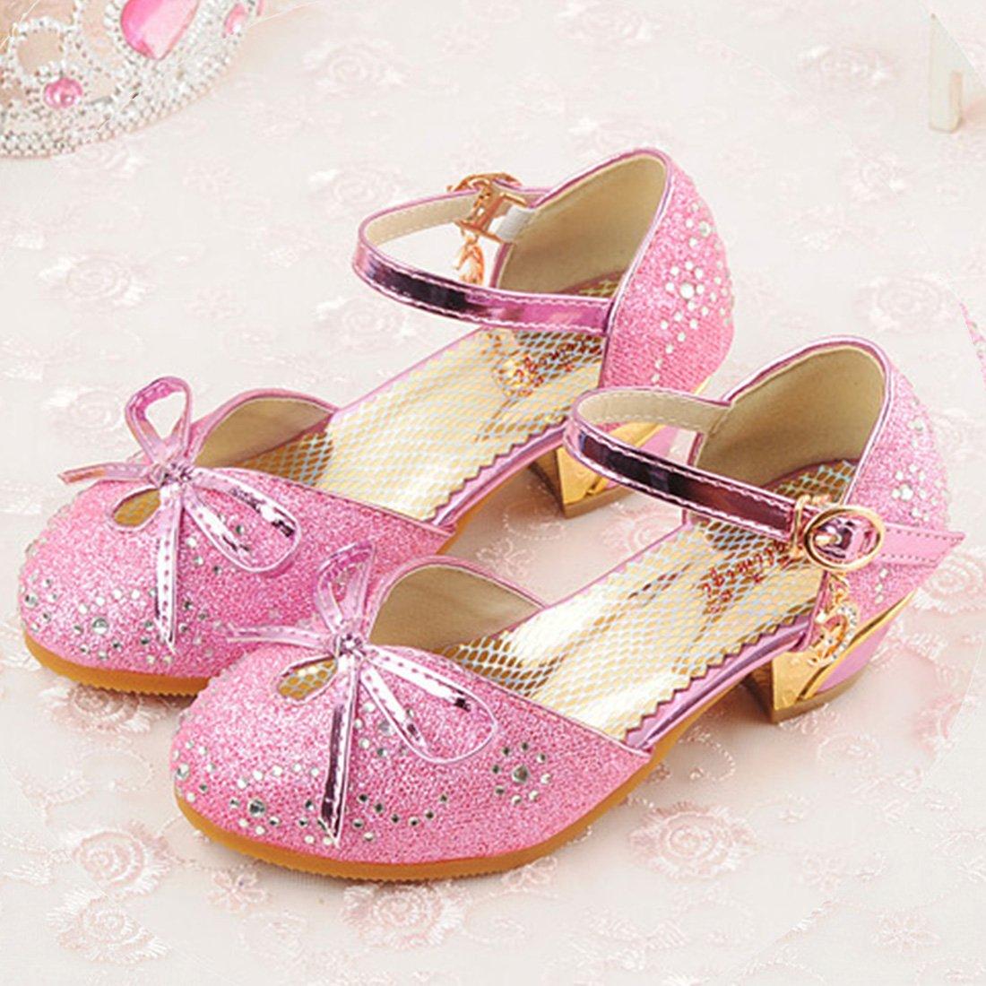 YIBLBOX Girls Kids Toddler Dress up Wedding Cosplay Princess Shoes Glitter Mary Jane Low Heel Shoes by YIBLBOX (Image #2)