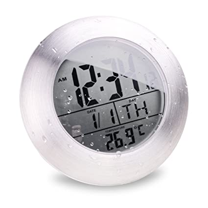 Etonnant Seiorca Waterproof Digital Bathroom Shower Clock Of 4 Suction Cup Display  Date Temperature