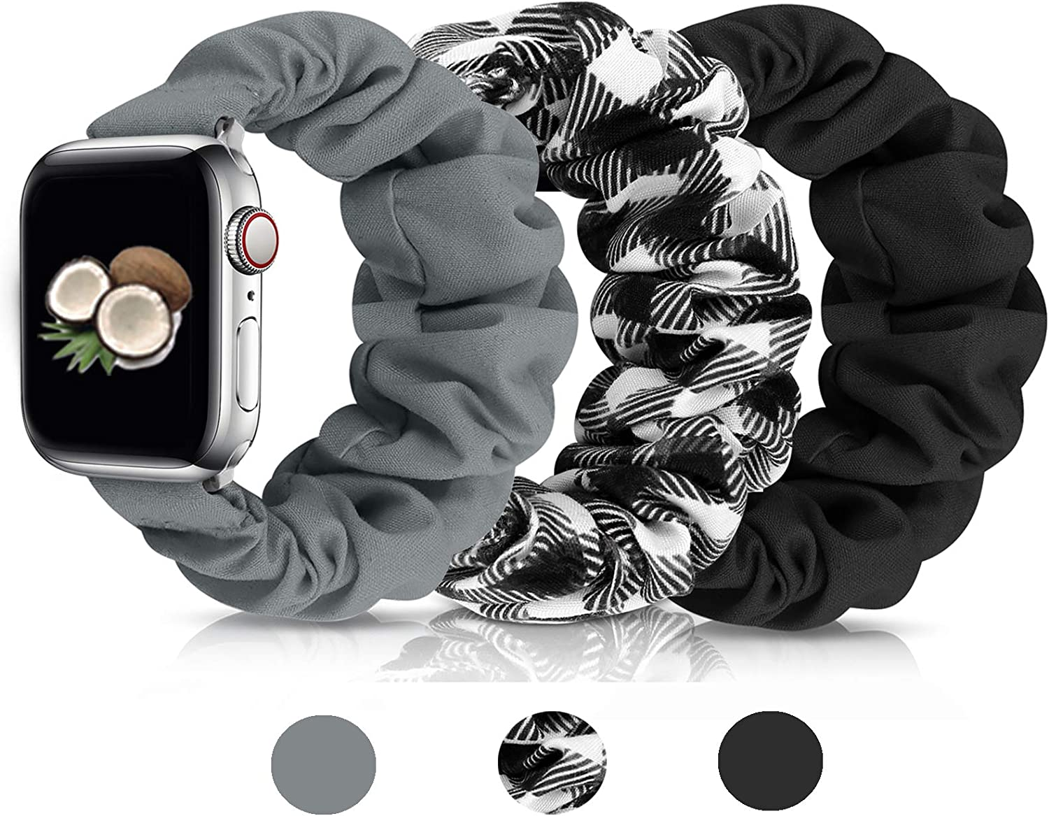 Scrunchies Watch Band for Women, Soft Replacement Elastic Wristband Compatible for iWatch Series 6 5 4 3 2 1 Compatible with Apple Watch Band 38mm 40mm 42mm 44mm (Black+Grey+Grid 42mm/44mm S)