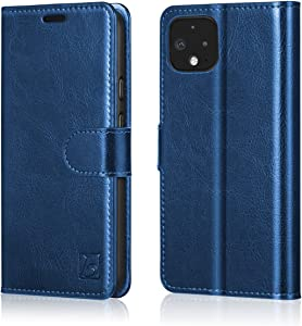 Belemay Case for Google Pixel 4, Cowhide Genuine Leather Wallet Case [RFID Blocking] Card Holder Slots Flip Cover Folio Book Style, Kickstand, Cash Pockets Compatible Google Pixel 4 (5.7 Inch) Blue
