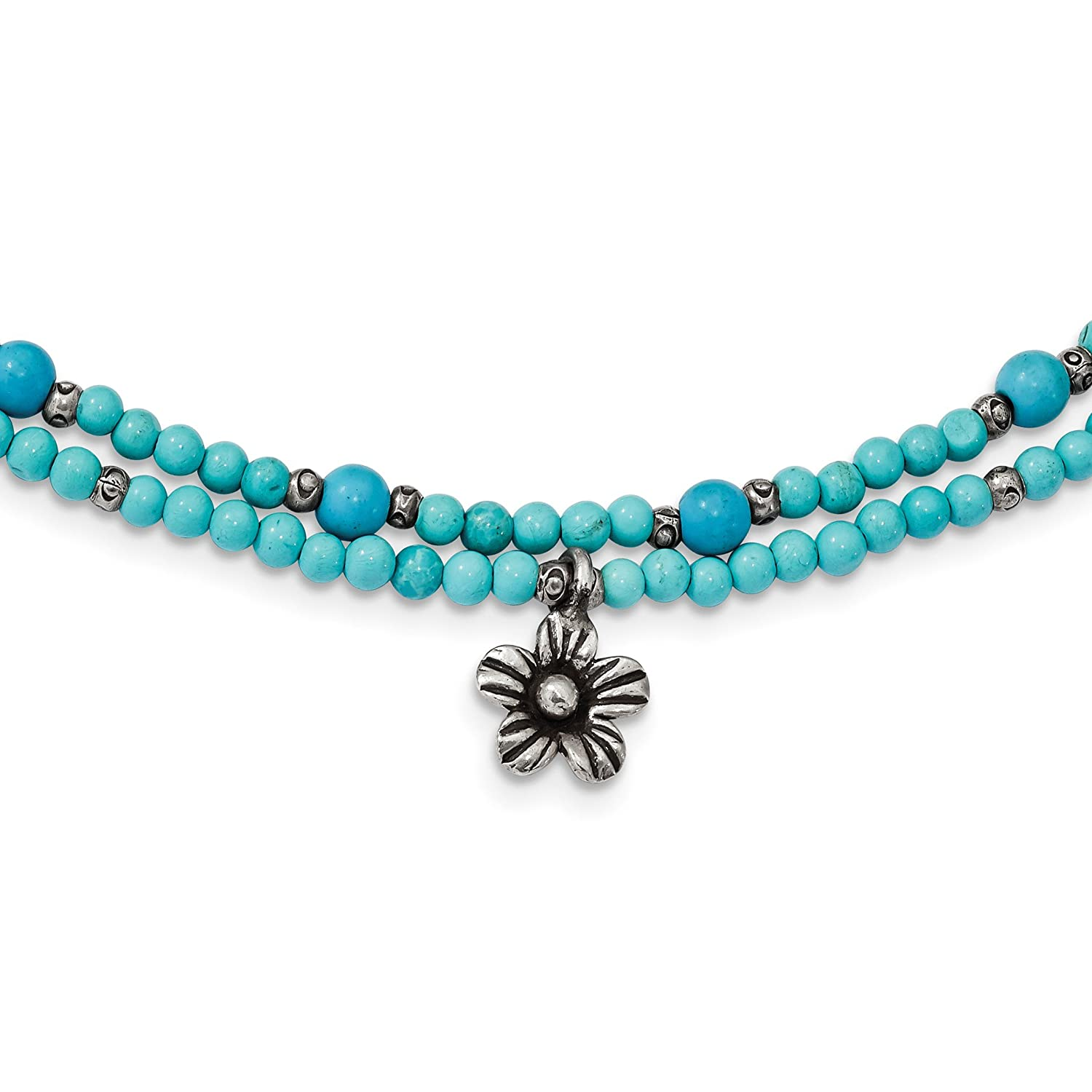 Magnesite 2-Strand Flower with 1 to 2in Extension Necklace 925 Sterling Silver Howlite Bracelet Recon