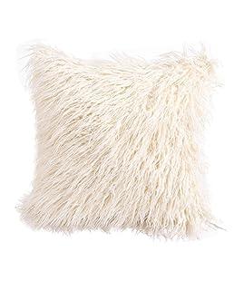 Botrong Fashion Plush Throw Pillow Cases Cafe Sofa Cushion Cover Home Decor 45cm×45cm (Beige)