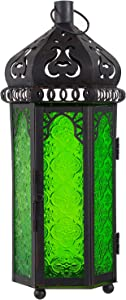 Ninganju Green Glasses Moroccan Style Candle Lantern Decorative for Patio, Indoors/Outdoors, Events, Parties and Weddings (13 Inches Tall)……
