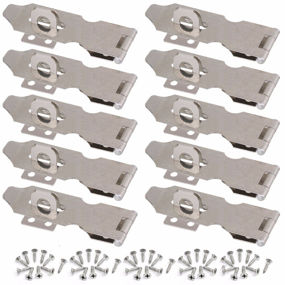 Wideskall 3'' inch Zinc Plated Swivel Safety Hasp and Staple with Screws (Pack of 10) by Wideskall