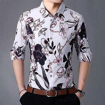 MUMU-001 Camisa Hawaiana de Playa para Hombre Camisa de Manga Larga de otoño Hombres Ropa de Hombre Camisas Florales de algodón con Botones 5XL 6XL 7XL: Amazon.es: Deportes y aire libre