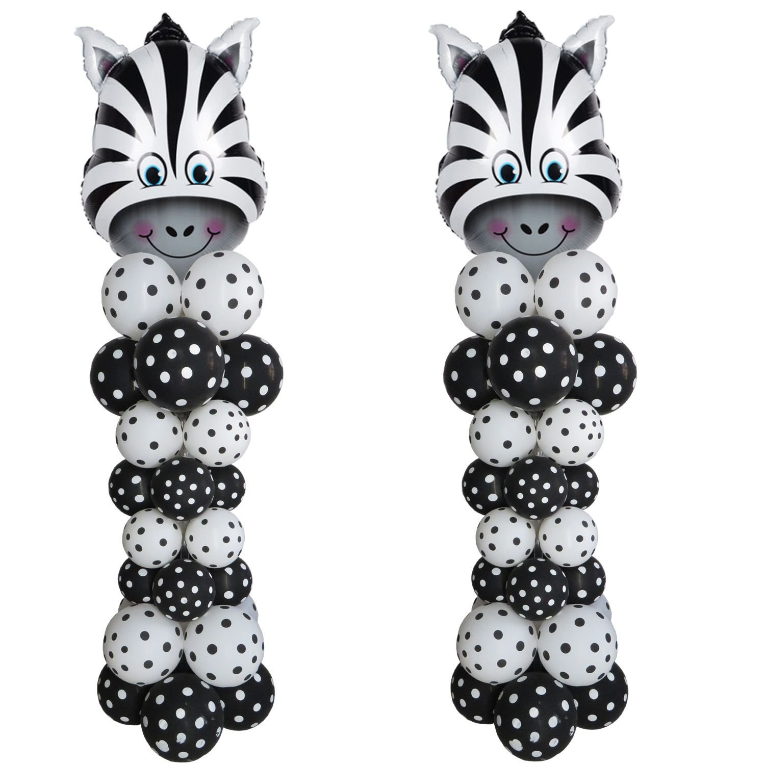 "Balloon Arch. Cute Zebra Arch Kit 2 Sets 80"" Height with 64Pcs Latex Balloon"