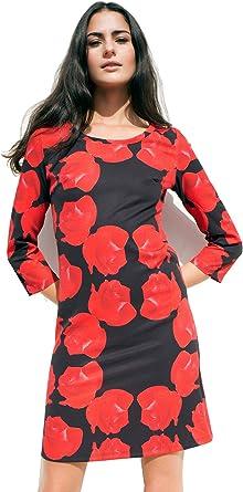 MATITA Vestido de Mujer de Neopreno con Rosas Rojas sobre Negro ...
