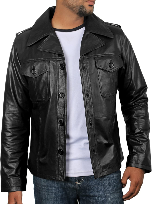 1501813 Laverapelle Mens Genuine Lambskin Leather Jacket Black, Bomber Jacket