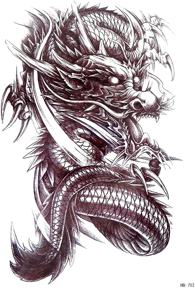Amazon Com Asian Dragon Large 8 25 Half Sleeve Arm Tattoo