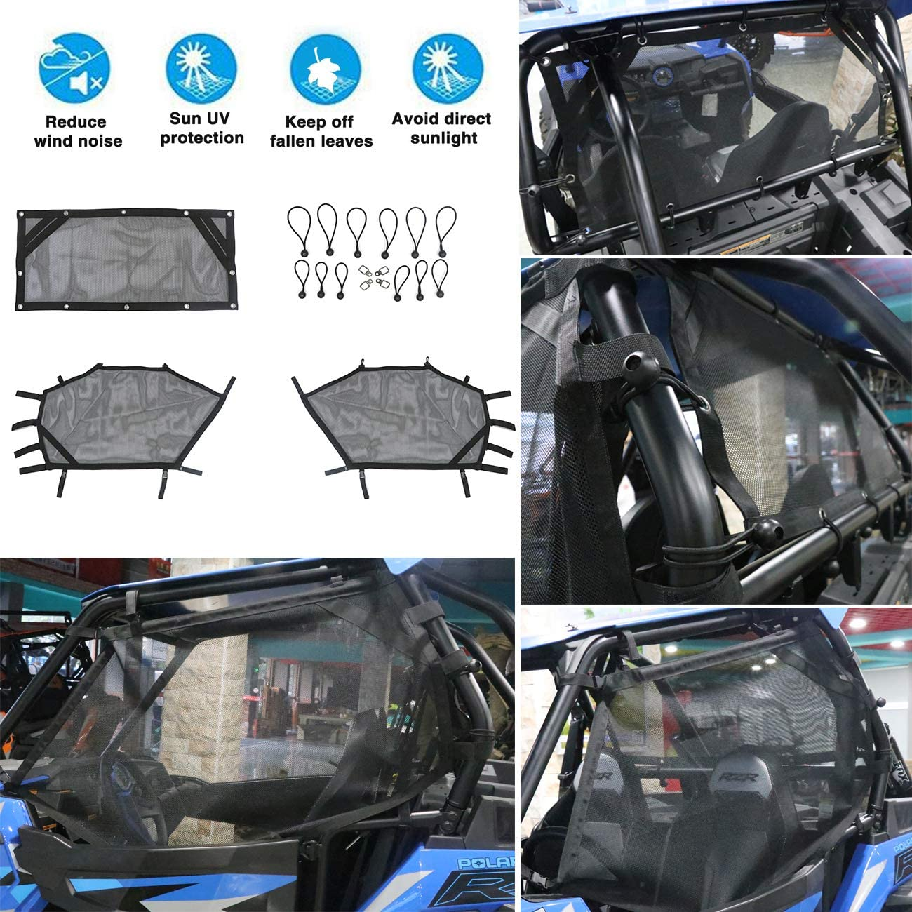 MFC UTV Window Net Roll Cage Mesh Guard Front Rear Right and Left Window Shade Shield Net Cover Door Scratch Prevention for Polaris RZR 570 800 1000 900 RZR XP 2015-2019 2 Seater