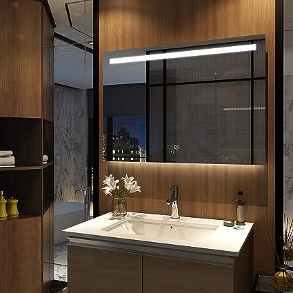 Badspiegel mit LED Touch Badezimmerspiegel Beleuchtung Wandspiegel 100x70cm