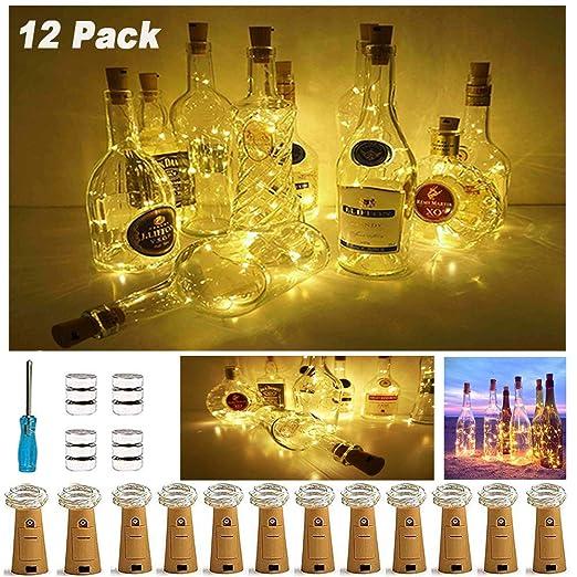 12 Pack luz de Botella, Nurkoo luz Corcho, luces led para Botellas de Vino 2m 20 LED a Pilas Decorativas Cobre Luz para Romántico Boda, Navidad, ...