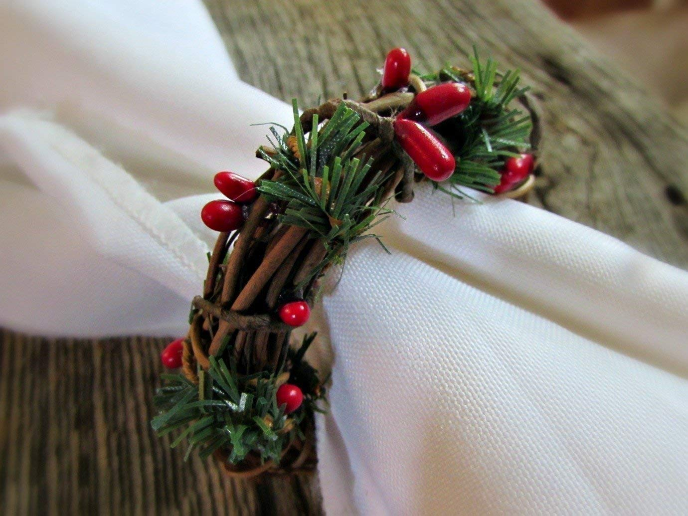 Grapevine Twig Napkin Ring Holders for Christmas Table Decoration Green Pine Set of 4, 6, 8, 10, 12 Red Berry