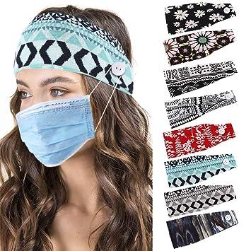 Women Turban Button Headband Stretch Nurse Hairband Sport Yoga Stretch Hair Band