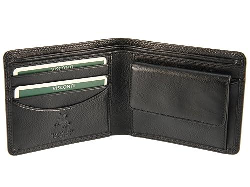 2ad9311d06 Portafoglio Visconti Heritage da uomo in pelle per carte di credito,  banconote e monete, HT7 Nero Black: Amazon.it: Scarpe e borse
