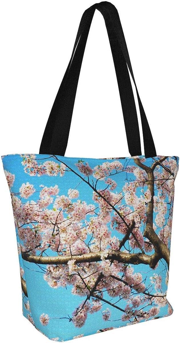 Cherry blossoms Womens Tote Bag Canvas Shoulder Bag Crossbody Handbag For Work Shopping