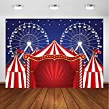 Circus 10x8 FT Vinyl Photo Backdrops,Illustration of Retro Circus with Flag Nostalgic Fun Festival Carnival Venue Artistic Background for Child Baby Shower Photo Studio Prop Photobooth Photoshoot