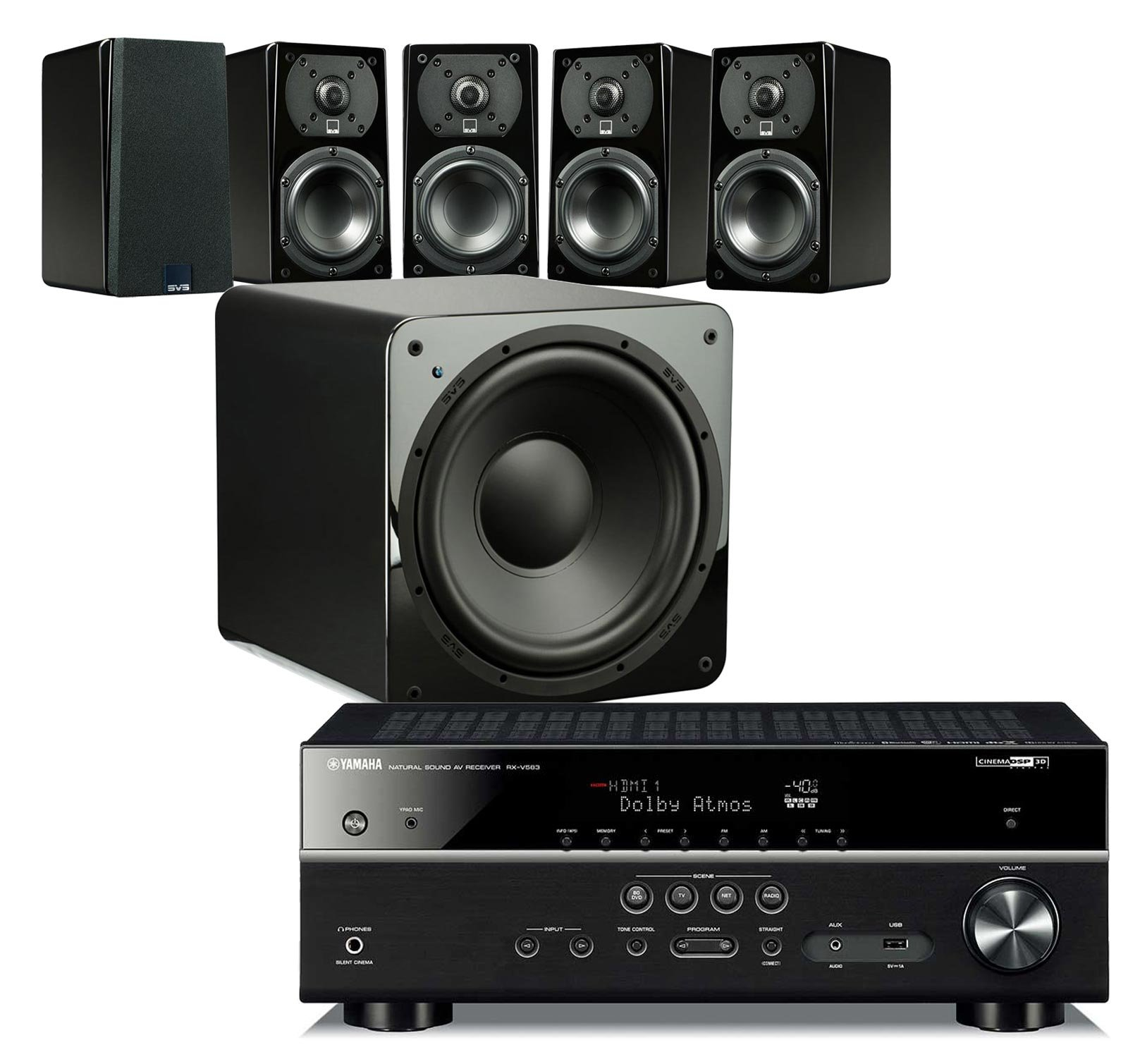 SVS Home Theater Prime Satellite 5.1 Package Featuring 5 Prime Wired Satellite Speakers, SB–1000 Wired Subwoofer (Piano Gloss), and Yamaha RX-V583BL 7.2-Channel 4K Ultra HD AV Receiver with Bluetooth by SVS