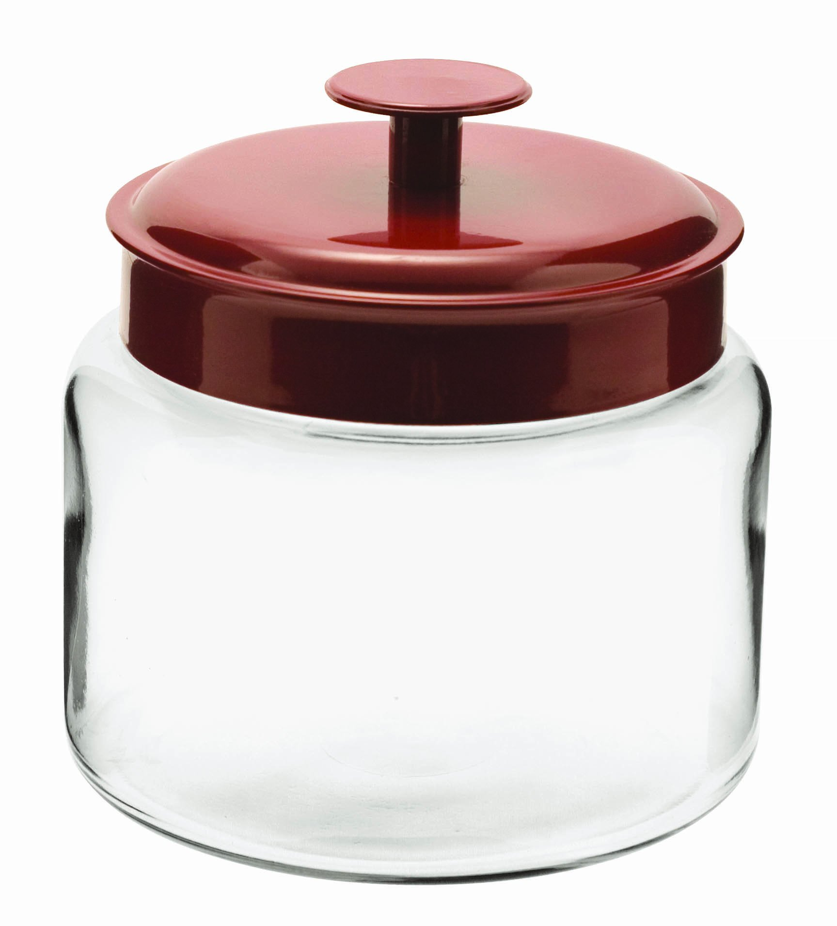 Anchor Hocking Montana Glass Jars with Fresh Sealed Lids, Red Metal, 48 oz (Set of 4)