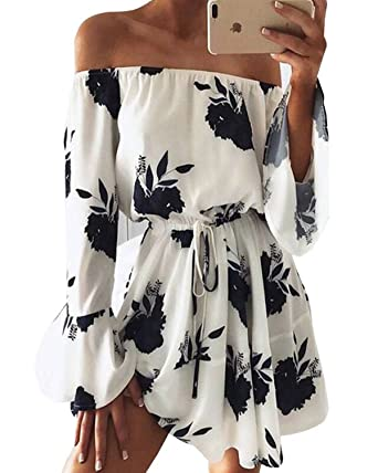 a09d16e7988 Kenoce Women Off Shoulder Jumpsuit Floral Print Tie Waist Summer Causal Short  Rompers Dress Playsuits As