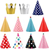 UEETEK 11pcs Pet Birthday Party Cone Paper Hats with Colorful Patterns for Pets Dogs Cats