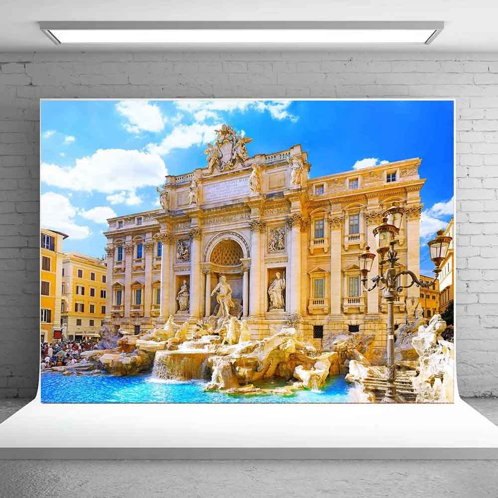 Meets 10x7ft Roman Wishing Pool Backdrop European Famous Architectural Architecture Picture Wedding Photography Studio Shoot Video Studio Props Background MT145