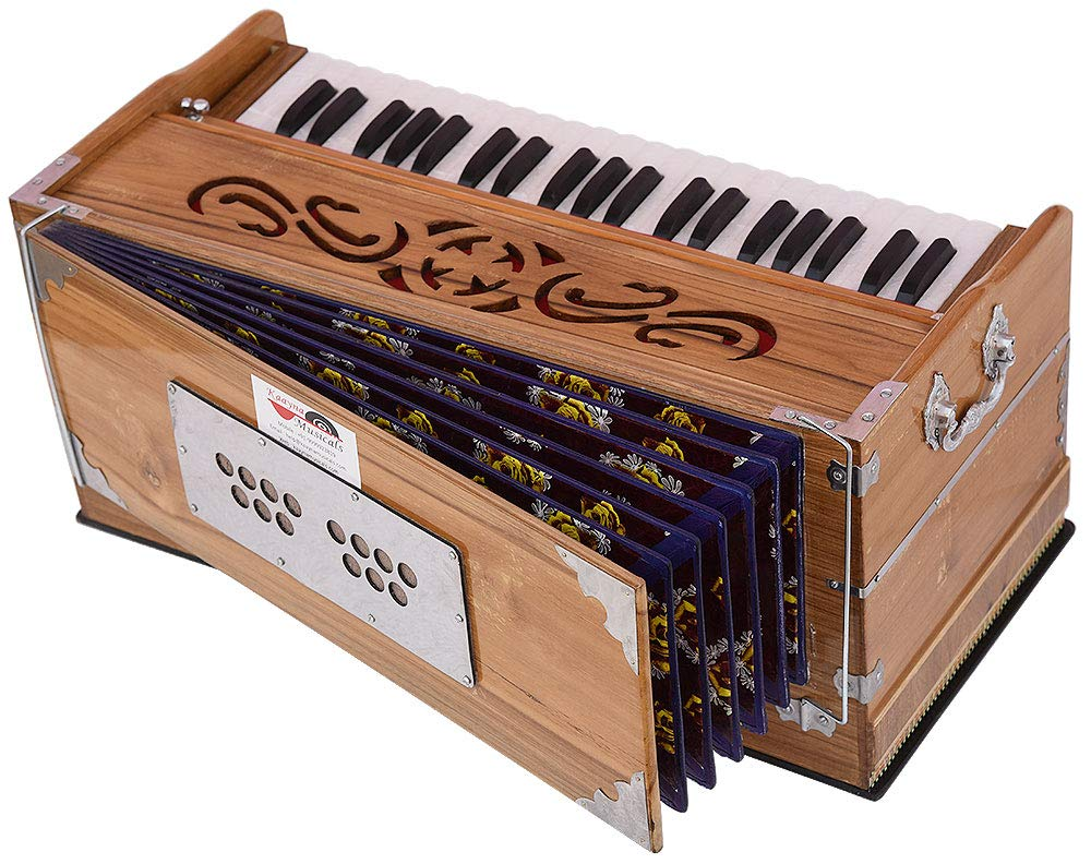 Harmonium Teak Wood By Kaayna Musicals, 11 Stops- 6 Main & 5 Drone, 3½ Octaves, Coupler, Natural Wood Color, Gig Bag, Bass/Male Reed- 440 Hz, Best for Yoga, Bhajan, Kirtan, Shruti, Mantra, etc by Kaayna Musicals (Image #3)