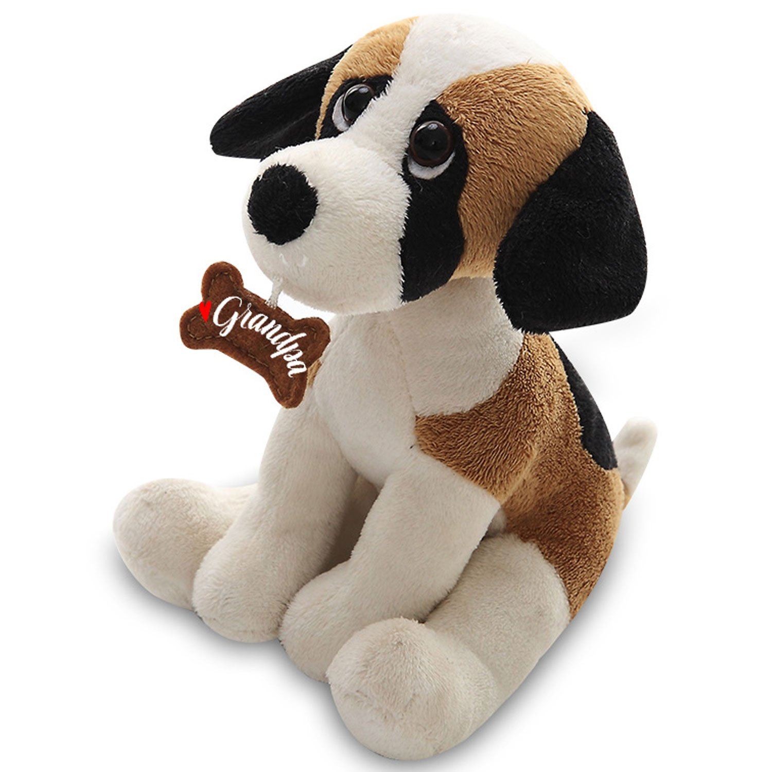 Plushland Adorably Stuffed Small Dog Holding a Bone Holiday Plush Animal Toys For kids and Superb Gift for Grandpa on Father/'s Day Show your Love with 7 Inch Grandpa Husky Message on It