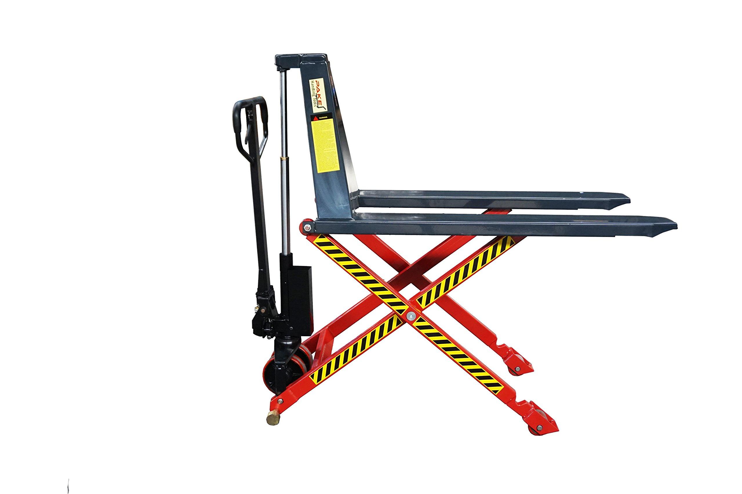 Pake Handling Tools - Manual High Lift Pallet Jack, 3300lbs Capacity
