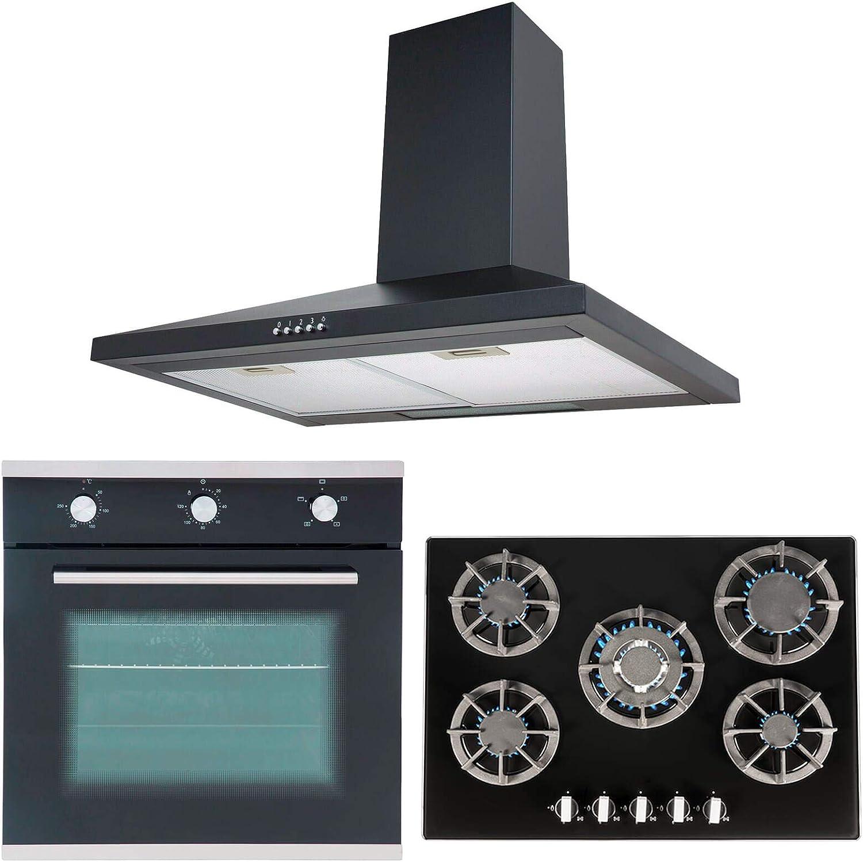 Sia único 60 cm horno eléctrico, negro 70 cm cristal cocina de gas y chimenea cocina capucha: Amazon.es: Grandes electrodomésticos