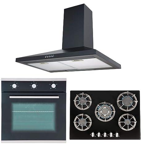 Sia único 60 cm horno eléctrico, negro 70 cm cristal cocina de gas ...