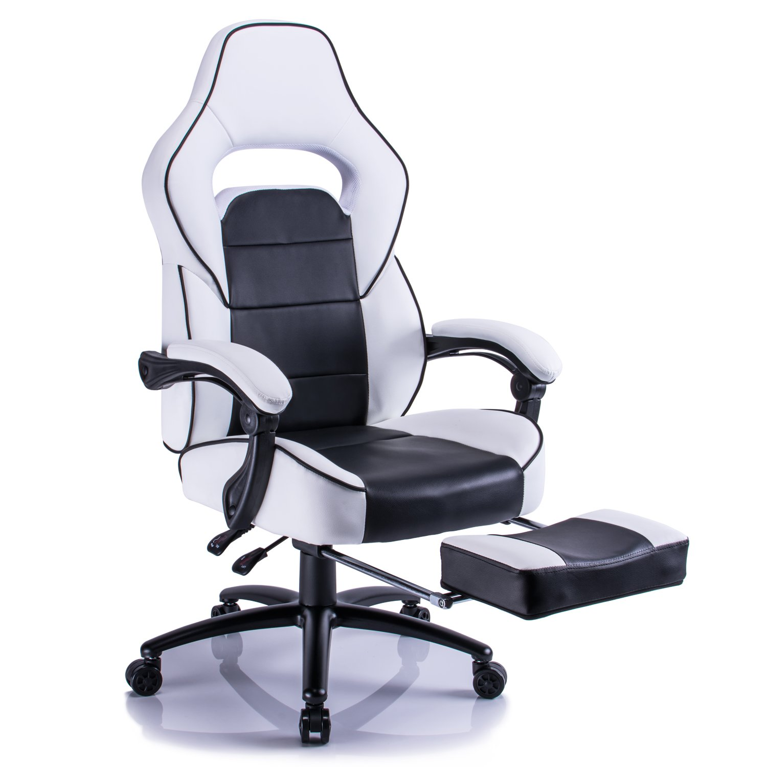 Aminiture Executive High Back Sport Racing Style Gaming Office Chair Recliner PU Leather Swivel Computer Desk Armchair with Footrest (White)