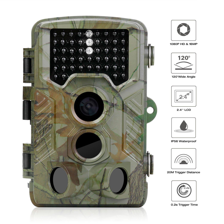 Trail Camera, Iado Vision de nuit de chasse Caméras HD 1080p/120° Grand Angle extérieur Caméra de vie sauvage infrarouge, 20m Distance de détection/16MP/0.2s Déclenchent Speed Jeu Camera