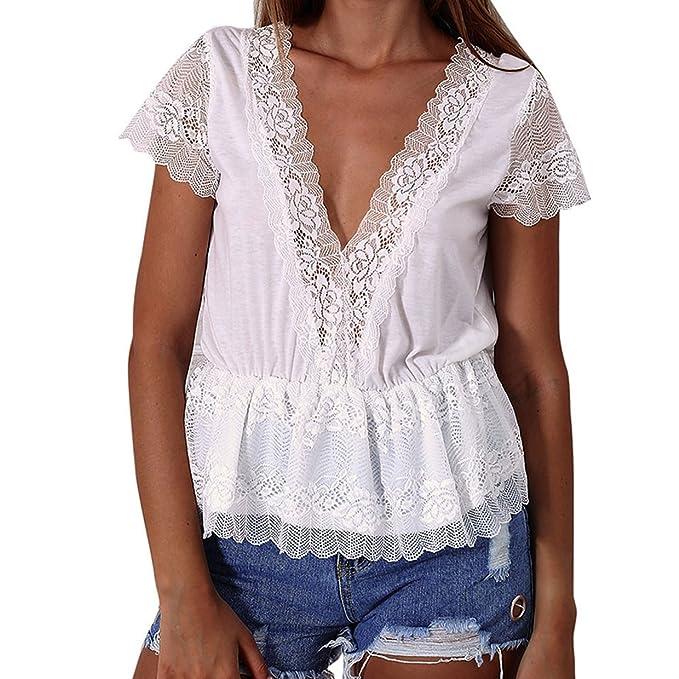 Camisetas Manga Corta Mujer❤️EUZeo❤️Sexy Encaje De Elegante Moda Blusa con Cuello V