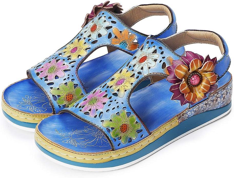 gracosy Sandales de Sports Femmes, Chaussures de Randonnée Marche Été en Cuir à Scratch à Talons Plats Confort Bout Ouvert Originales pour Pieds