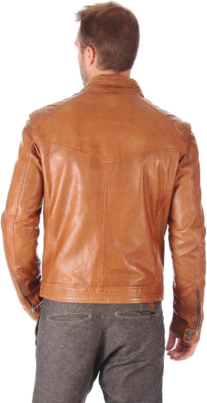 Aaron Craft Mens Lambskin Leather Bomber Biker Jacket