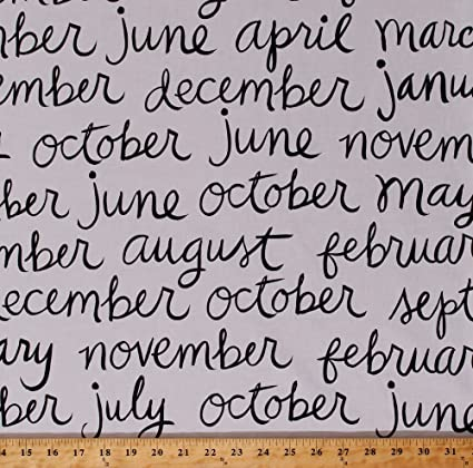 Amazoncom Cotton Twelve Months Of The Year Names Titles Calender